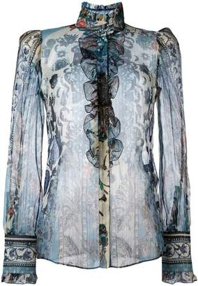 Roberto Cavalli printed sheer shirt