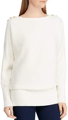 Ralph Lauren Button Shoulder Ribbed Sweater