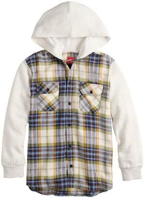 Boys 8-20 Black Jack Fleece & Flannel Button-Down Hooded Shirt