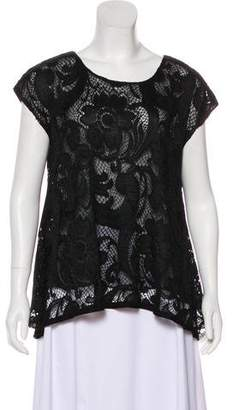 Anna Sui Eyelet Short Sleeve Top