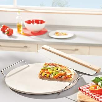 Leifheit Round Ceramic Pizza Stone with Carrying Tray and Slicer
