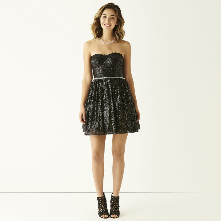 City Triangles Strapless All-Over Sequin Party Dress- Juniors