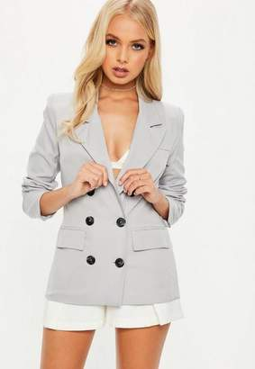 Missguided Crepe Double Breasted Blazer Gray