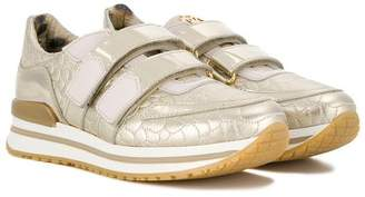Roberto Cavalli Junior snake effect touch strap sneakers