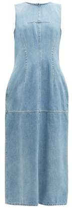 MM6 MAISON MARGIELA Open Back Panelled Denim Dress - Womens - Light Denim