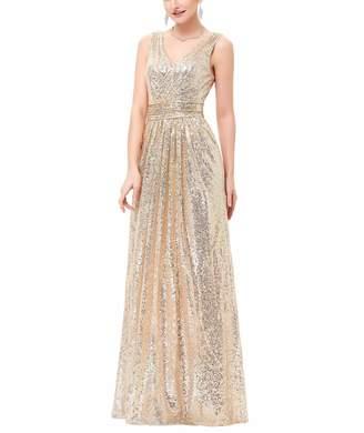 e8f327da76 RQH Women s 1920s Vintage Sleeveless Sequin Bridesmaid Long Party Dresses