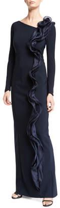 Rickie Freeman For Teri Jon Silk Ruffle Long-Sleeve Scuba Gown
