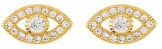 ADORNIA 14K Gold Plated Sterling Silver Swarovski Crystal Evil Eye Stud Earrings