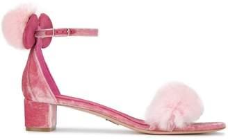Oscar Tiye Pink Minnie 40 Velvet Fur sandals