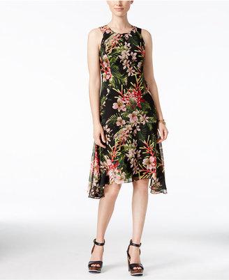 Tommy Hilfiger Floral-Print Handkerchief-Hem Chiffon Dress $99 thestylecure.com