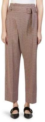 Cédric Charlier Belted Micro Check Pants