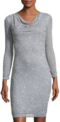 Marina Bead-Embellished Long-Sleeve Sheath Dress, Silver $189 thestylecure.com