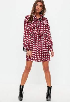Missguided Red Tie Waist Geo Print Shirt Dress