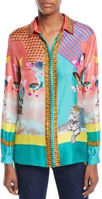Etro Long-Sleeve Button-Front Butterfly-Print Silk Blouse