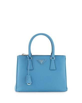 Prada Saffiano Lux Small Double-Zip Tote Bag, Light Blue (Mare)