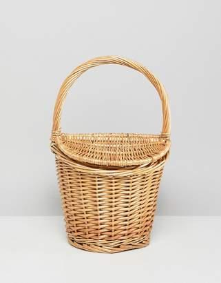 MANGO mini picnic basket bag in natural