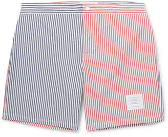 Thom Browne Slim-Fit Mid-Length Striped Herringbone Shell Swim Shorts