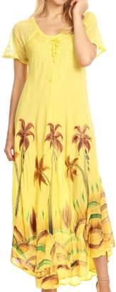 Sakkas 18610 - Irem Women Everyday Caftan Long Dress Kaftan with Corset and Lace Sleeves - OS