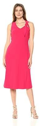 London Times Women's Sleeveless V Neck Aline with Shoulder TIE Dress