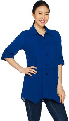 Joan Rivers Classics Collection Joan Rivers Lightweight Textured Button Front Shirt