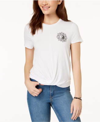 Pretty Rebellious Juniors' Magic Knot-Front Graphic T-Shirt
