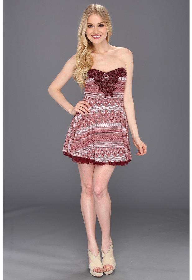 Free People Twinkle N Twirl Dress (Wine) - Apparel