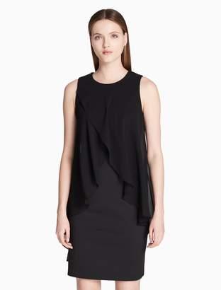 Calvin Klein chiffon drape scuba sheath dress