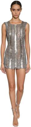 Julien Macdonald EMBELLISHED METAL & KNIT MESH MINI DRESS