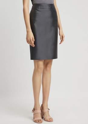 235734891 Emporio Armani Silk And Cotton Radzimir Pencil Skirt