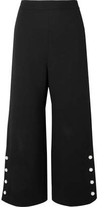 Lela Rose Cropped Faux Pearl-embellished Wool-blend Crepe Wide-leg Pants - Black