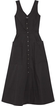 Saloni - Zoey Cutout Stretch-cotton Poplin Midi Dress - Black $615 thestylecure.com