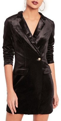 Women's Missguided Velvet Blazer Minidress $93 thestylecure.com