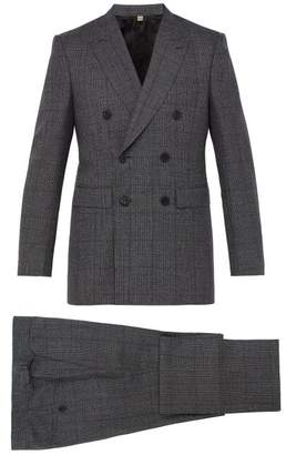 Burberry Slim Fit Checked Wool Suit - Mens - Dark Grey