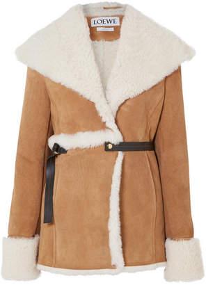 Loewe Belted Shearling Jacket - Camel