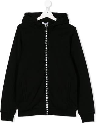 DKNY TEEN logo stripe hoodie