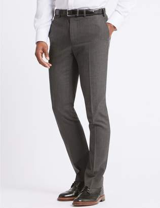 Marks and Spencer Grey Textured Slim Fit Trousers