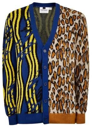 Topman Mens Multi Spliced Animal Print Cardigan