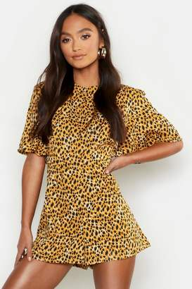 boohoo Petite Leopard Print High Neck Playsuit