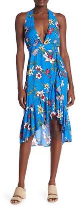 Dance and Marvel Floral Halter V-Neck Midi Dress