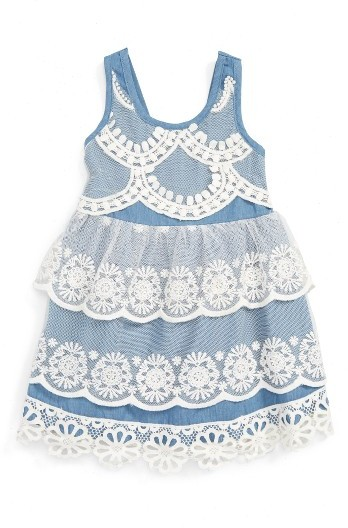 Baby Sara Infant Girl's Baby Sara Tiered Lace & Chambray Dress