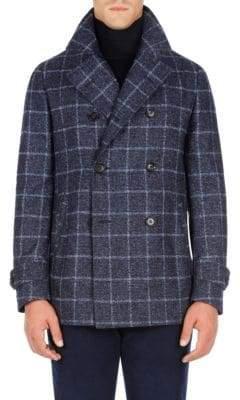 Isaia Windowpane Double-Breasted Coat