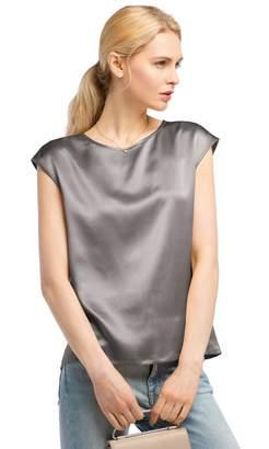 Mulberry LilySilk Silk T Shirt Women Basic Cap Sleeves 22MM 100% Silk Basic Tops (, XL)