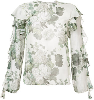 Robert Rodriguez floral frill blouse