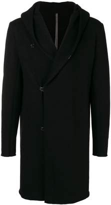 Attachment hooded single breasted coat