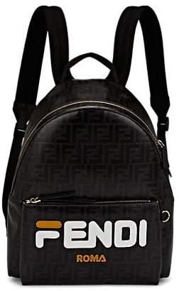 Fendi Men's Coated-Canvas Backpack - Black