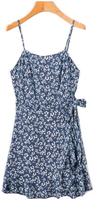 'Viviana' Floral Wrap Tied Frill Dress