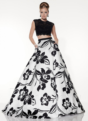 Panoply - Two Piece Contrast Lace A-Line Evening Gown 14800 $378 thestylecure.com