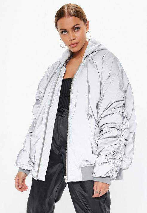 Silver Oversized Reflective Bomber Jacket, Silver
