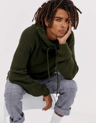 Bershka knitted sweater in green with shawl neck