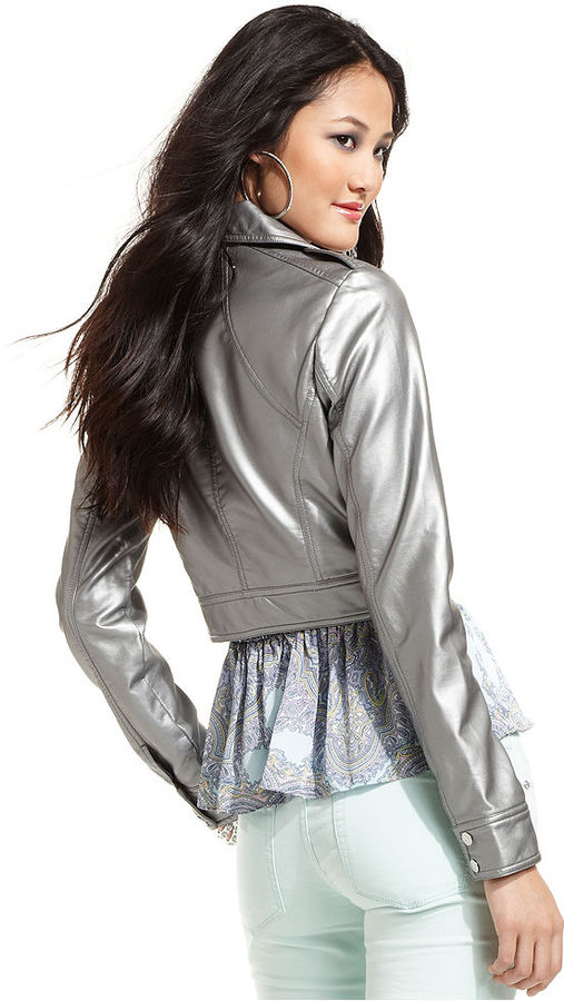Baby Phat Juniors Jacket, Cropped Metallic Faux-Leather Moto